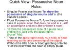Quick View- Possessive Noun Rules