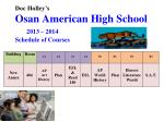 Doc Holley's Osan American High School 2013 – 2014 Schedule of Courses