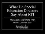 What Do Special Education Directors Say About RTI