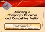Analyzing a Company's Resources and Competitive Position
