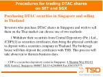 Procedures for trading DTAC shares on SET and SGX