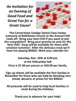 An Invitation for an Evening of Good Food and Great Fun for a Great Cause!