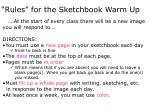 """""""Rules"""" for the Sketchbook Warm Up"""