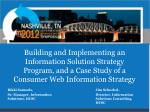 Building and Implementing an Information Solution Strategy Program, and a Case Study of a Consumer Web Information Strat