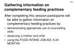 Gathering information on complementary feeding practices