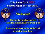 Cub Scout Pack XXX School Night For Scouting