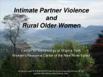 Intimate Partner Violence and Rural Older Women