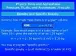 Physics Tools and Applications Pressure, Fluids, and Archimedes' Principle