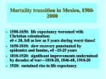 Mortality transition in Mexico, 1500-2000