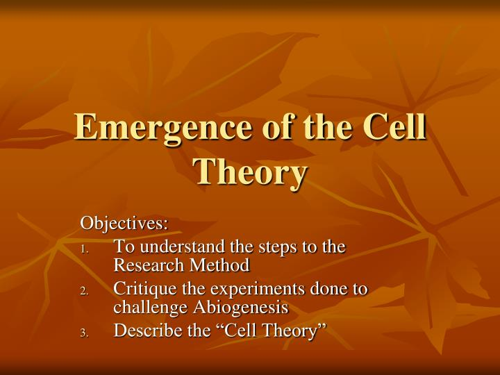 emergence of the cell theory n.