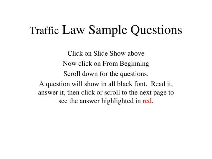 traffic law sample questions n.