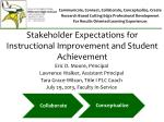 Stakeholder Expectations for Instructional Improvement and Student Achievement