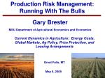 Production Risk Management: Running With The Bulls