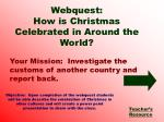 Your Mission:  Investigate the customs of another country and report back.