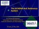 The SCHEMA NoE Reference System