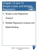 Chapter 12 and 13 Simple Linear and Multiple Regression