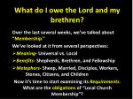 What do I owe the Lord and my brethren?