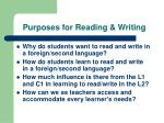 Purposes for Reading & Writing