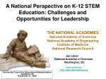 A National Perspective on K-12 STEM Education: Challenges and Opportunities for Leadership