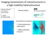 Imaging transmission of nanostructures in a high-mobility heterostructure