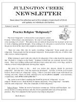 Julington Creek  NEWSLETTER News about the collective work at the Julington Creek church of Christ and updates on indivi