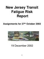New Jersey Transit Fatigue Risk   Report Assignments for 27 th  October 2002