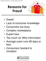 Reasons for Fraud