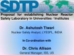 Proposal for establishing Nuclear Reactor Safety Laboratory in Universities / Institutes
