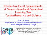 Interactive Excel Spreadsheets: A Computational and Conceptual Learning Tool  for Mathematics and Science