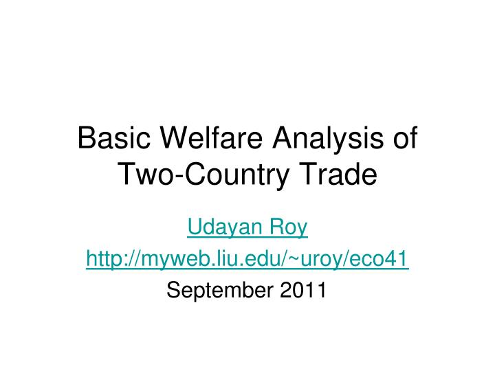 basic welfare analysis of two country trade n.