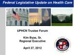 Federal Legislative Update on Health Care