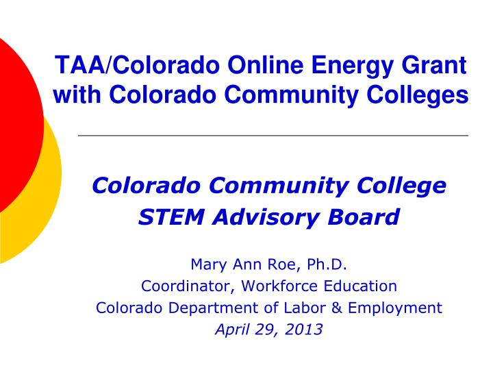 taa colorado online energy grant with colorado community colleges n.