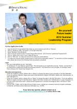 On-line Application Guide Log onto Ernst & Young website http://www.ey.com/cn/careers and click on 'Careers'.