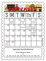 September Word Wall Words All 40 Kindergarten Words & can, man, am, by, your, wish, that, be, me, see, they, this