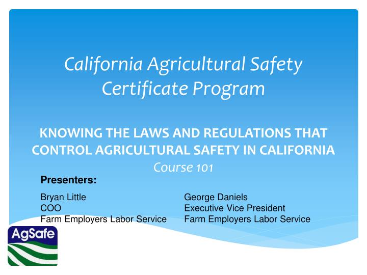 california agricultural safety certificate program n.
