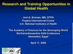 Research and Training Opportunities in Global Health