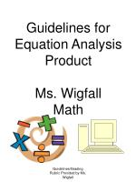 Guidelines for Equation Analysis Product Ms. Wigfall Math