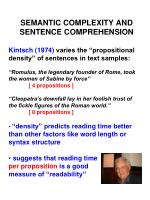 Semantic complexity and sentence comprehension