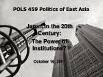POLS 459 Politics of East Asia