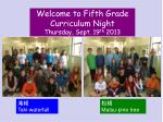 Welcome to Fifth Grade Curriculum Night Thursday, Sept. 19 th  2013