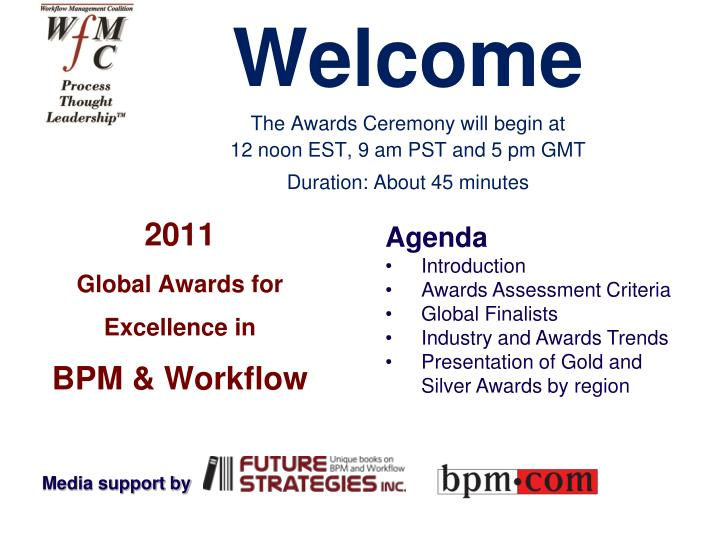 2011 global awards for excellence in bpm workflow n.