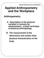 Applied Anthropometry and the Workplace