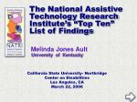 "The National Assistive Technology Research Institute's ""Top Ten"" List of Findings"