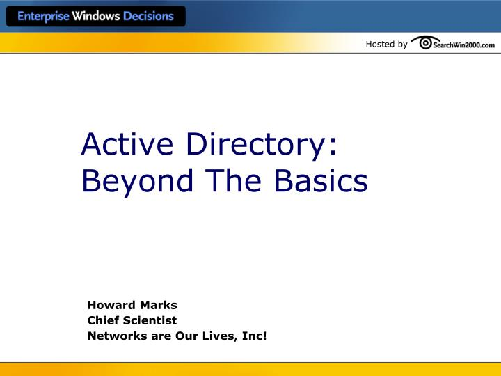active directory beyond the basics n.