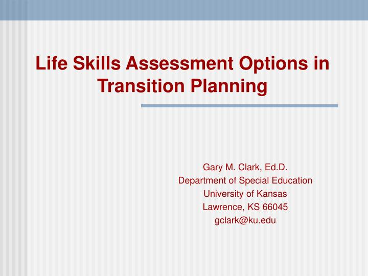 life skills assessment options in transition planning n.