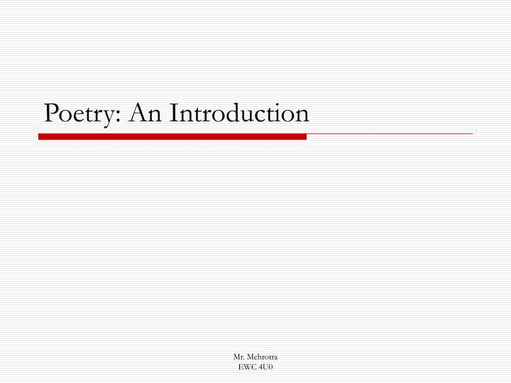 poetry an introduction n.