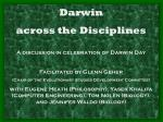 Darwin across the Disciplines A discussion in celebration of Darwin Day Facilitated by Glenn Geher (Chair of the Evolu