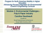 Program for North American Mobility in Higher Education Introducing Process Integration for Environmental Control in Eng