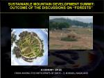 """SUSTAINABLE MOUNTAIN DEVELOPMENT SUMMIT: OUTCOME OF THE DISCUSSIONS ON """"FORESTS"""""""