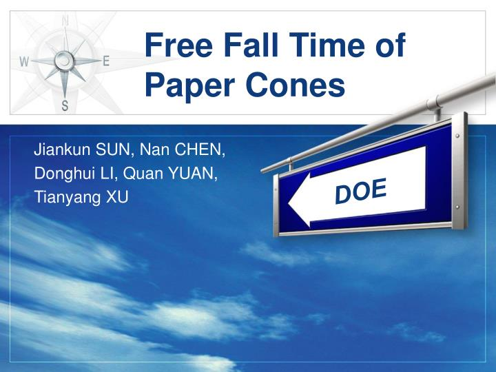 free fall time of paper cones n.